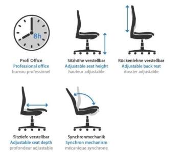 Bürostuhl ergonomisch einstellen  ᐅ Bürostuhl ERGOHUMAN von hjh OFFICE (ergonomisch & verstellbar)
